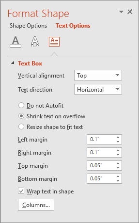 Shows the Format Shape > Text Options pane in PowerPoint