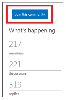 screen shot of the button that says join this community.