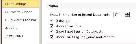 Focused view of the Display Setting options