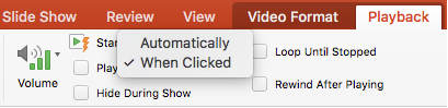 Options for the Start command in PowerPoint video playback