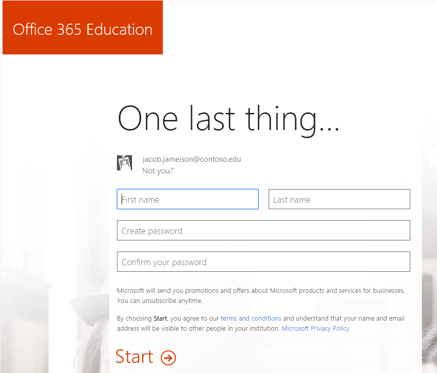 Screenshot of the password creation page for the Office 365 sign up process.