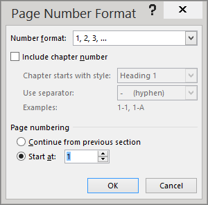 The options in the Page Number Format dialog box are shown.