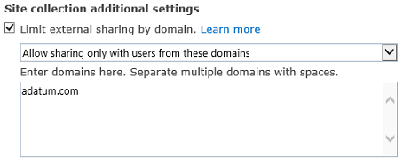 Screenshot of the restricted domain portion of the site collection settings dialog box.