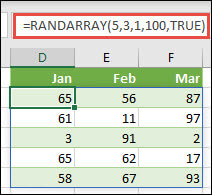 RANDARRAY function with Min, Max & Whole number arguments