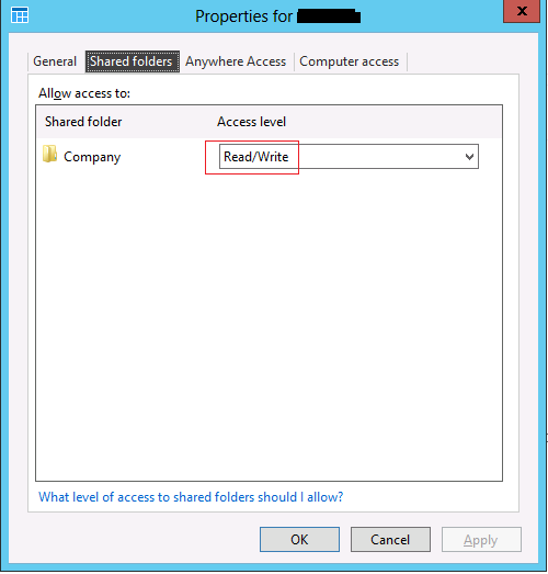 Shared folders tab