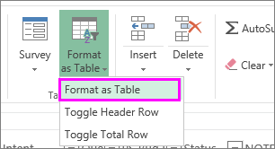 Button to format data as a table