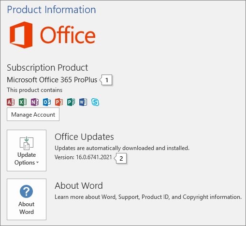 Screenshot of the Account page showing the Office product name and full version number
