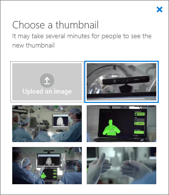 Screenshot of the Choose A Thumbnail pane.