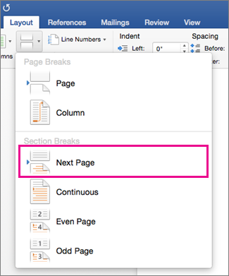 On the Layout tab, Next Page is highlighted