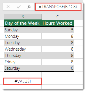 How to correct a #VALUE! error in the TRANSPOSE function - Office ...