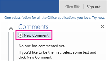 Add a new comment in reading view