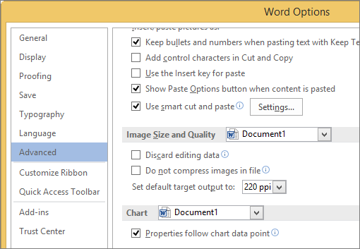 Image Size and Quality options in Word