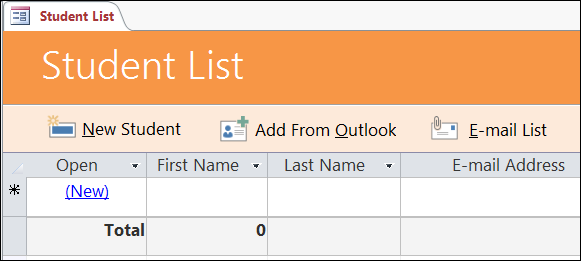 Student list form in the Access Students database template