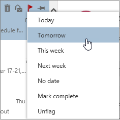 Follow-up options available when you flag a message