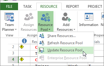 Update resource pool after editing resources in a sharer file