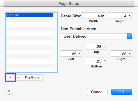 In Page Setup, select Manage Custom Sizes to create custom paper sizes.