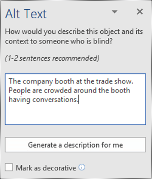 Alt Text dialog in Word for Windows