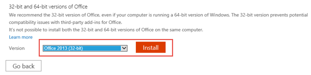 Choose Office 2013 from the version dropdown