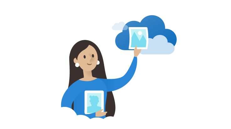 Image of a woman holding a file to the OneDrive cloud.