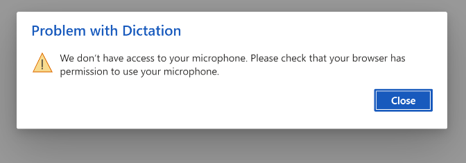 Error dialog for mic access