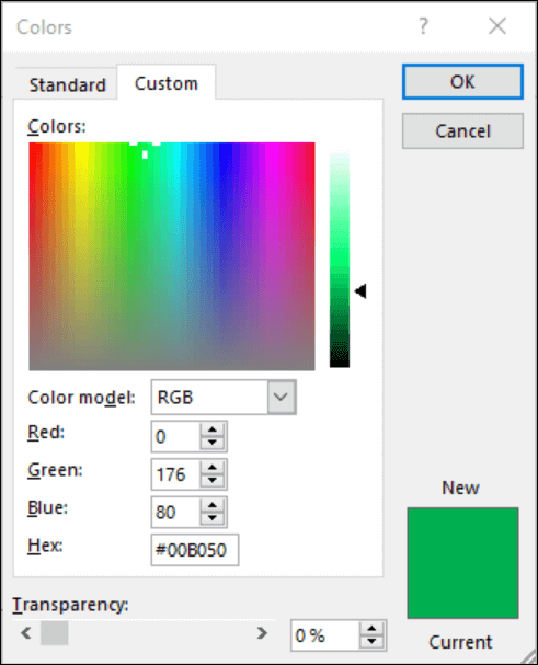 Color picker in Office apps. Under the RGB fields there is a new field to enter Hex color value.