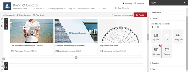News web part in sample modern Brand site in SharePoint Online