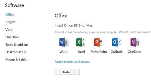 The Office 365 Settings install software screen on a Mac