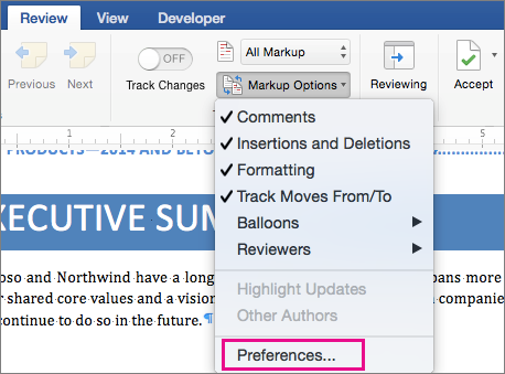The Markup Options menu with Preferences highlighted.