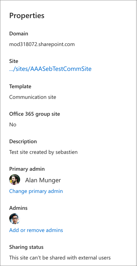 Site properties in the details pane
