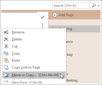 Screenshot of how to move or copy a page in OneNote 2016.
