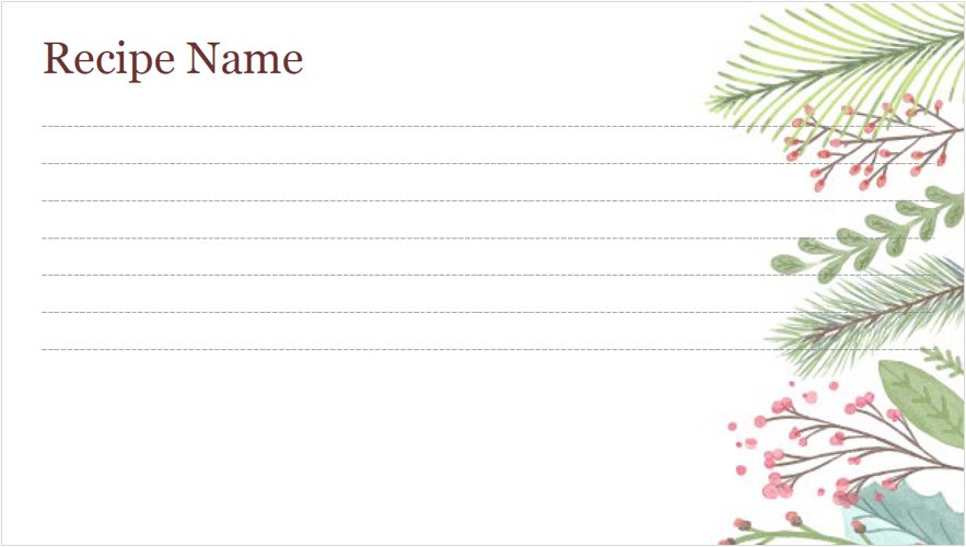 Image of a holiday-themed recipe card