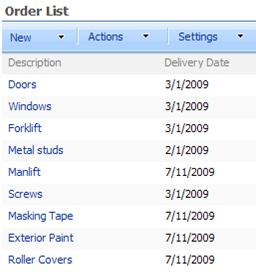 The List Web Part that shows items with delivery dates.