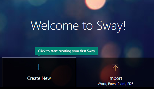 Create New button on the My Sways page