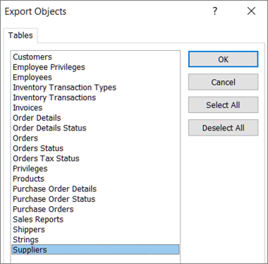 Selecting tables to migrate