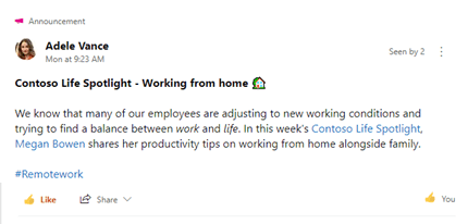 Work with announcements in Yammer