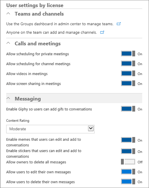 Screenshot shows the User settings by license screen with Teams and Channels, Calls and Meetings, and Messaging areas where admins can turn on or turn off options.