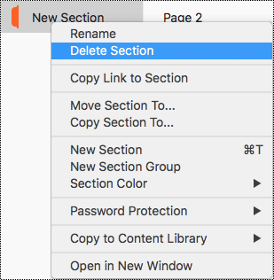 Section context menu in Mac with Delete Section highlighted.