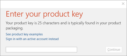 Shows the dialog box where you enter your product key