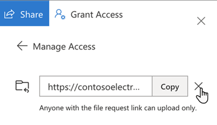 UI for stopping access to file requests