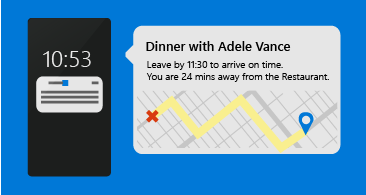 Phone with a meeting reminder and a notification to leave at a given time to arrive on time