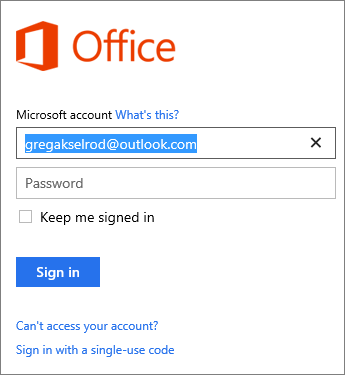 Signing in to Office with Microsoft account