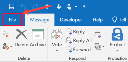 Save a message as a file - Outlook