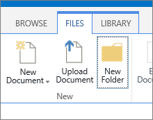 The files tab on the ribbon with the New Folder button highlighted