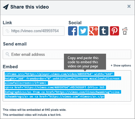 Add content to your page using the Embed web part - Office