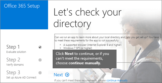 Choose Next or continue manually on the Let's check your directory page