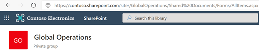 Document library with its URL showing in the Address bar.