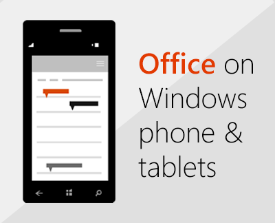 Click to set up Office mobile apps on Windows 10 device