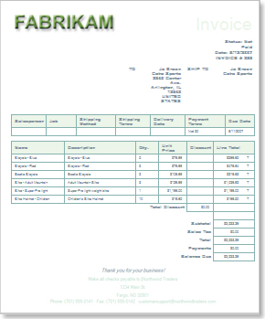 Customized Invoice