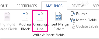 Screenshot of the Mailings tab in Word, showing the Greeting Line command as highlighted.