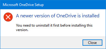 OneDrive error pop-up